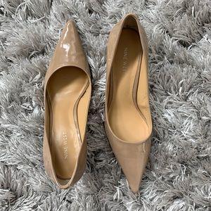 Nine West Tan Patent Leather Kitten Heels